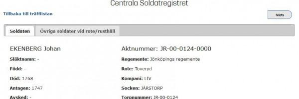 Johan Ekenberg i Centrala Soldatregistret
