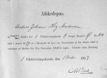 1909 Anders Johan Høg-Andersen avskedspass
