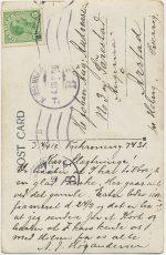 Kort till Johan August från H-A 1918 baksida