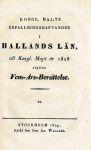 Befallningshafvaren i Hallands län, 5-årsberättelse, 1828