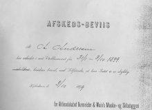 1899 Avskedsbevis